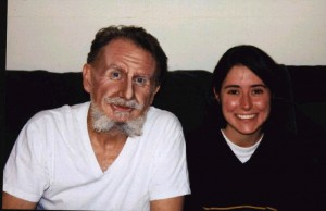René, makeup complete, with Talia, November 2002